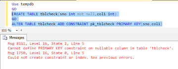 sql server create table primary key primary key not null in sql server
