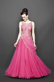 bridal gown pink color indo western bridal gown panache haute couture