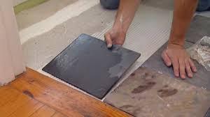Tile Floor Installers Installing Tile Flooring Concrete Image Mag Patterned