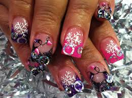 luminous nails red silver acrylic christmas nails 25 best ideas