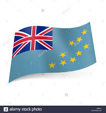 Blue Flag With Stars National Flag Of Tuvalu British Flag And Yellow Stars On Blue