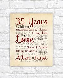 40 year anniversary gift 35th wedding anniversary gifts for gift ideas bethmaru
