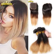 short hairstyles with closures ombre brazilian virgin hair with closure straight human hair weave 3
