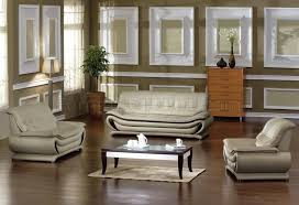 ultra modern 3pc living room set leather paris white beige bonded leather modern stylish 3pc living room set