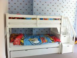 Staircase Bunk Bed White Waxed Built In Storage Steps Bedtime Bedz - Stairs for bunk beds