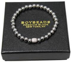 men beads bracelet images Harold quot 6mm silver hematite bead bracelet pave sterling silver for jpg