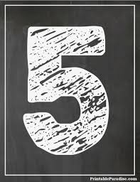 printable number 5 with chalkboard effect