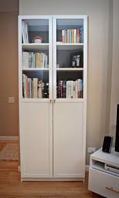 Ikea White Bookcase With Glass Doors Living Room White Bookcase With Doors Ikea Door