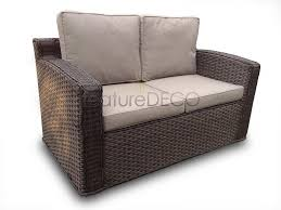 Chelsea High Back Rattan Garden Furniture Sofa Set Brown Indoor - Wicker sofa sets