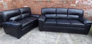 Leather  Seater Sofa Black - Leather 3 seat sofa
