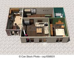 house plan drawings clipart of 3d house plan 3d rendering house plan csp1558531