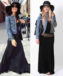 add a denim jacket u0026 hat to your maxi dress for an instant chic