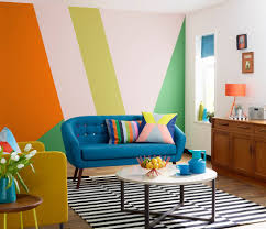 retro colors living room contemporary with red wire fruit bowl