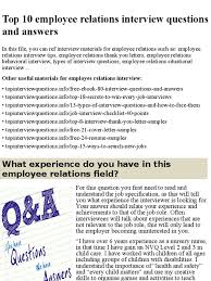 Job Interview Resume Questions by Top 10 Employee Relations Interview Questions And Answers Pptx
