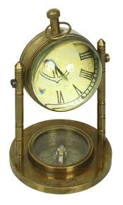 marine table clock with compass in brass u2013 antique look home décor