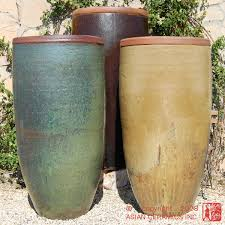 backyard ceramic outdoor planters tall rustic jar large tapered
