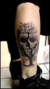 black scary tree with skull on leg by raf ethno