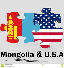 Mongolia Flag Usa And Mongolia Flags In Puzzle Stock Illustration Illustration