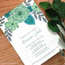 Mint Wedding Invitations Seed Paper Printable Wedding Invitations Kit Plantable Wedding