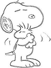 snoopy hug woodstock tight coloring pages place color