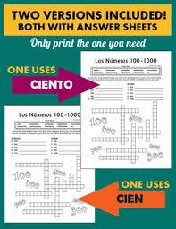 los numeros spanish numbers 100 1000 crossword puzzle worksheet