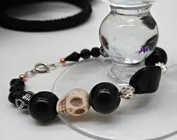black skull bracelet images Black skull bracelet etsy jpg