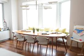 furniture chic banquette bench with round dining table also