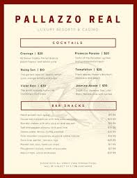 snack bar menu template and maroon peacock vintage cocktail menu templates by canva