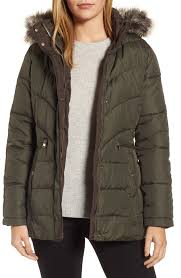 larry levine quilted coat with faux fur trim nordstrom