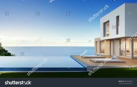 luxury beach house sea view swimming stock illustration 685634668