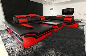 big sectional sofa enzo xxl leather couch with led lights colour