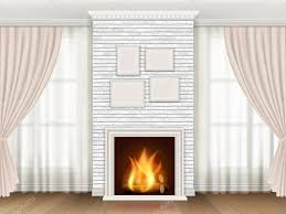 classic interior with fireplace and windows curtains u2014 stock