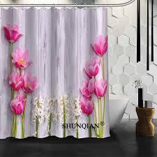 Pink Flower Shower Curtain Best Nice Custom Pink Flower Shower Curtain Bath Curtain