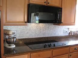 Simple Kitchen Backsplash Backsplashes Simple Brown Cabinets With Metallic Backsplash And