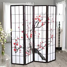 home room dividers 3 panel cherry divider shoji with floral screen
