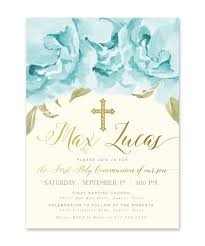 communion invitation henley boy communion invitation blue roses gold sea