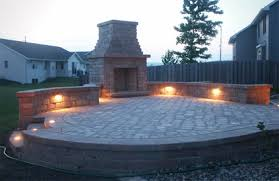 Patio Wall Lighting Raised Patio Area With Retaining Wall And Fireplace Outdoor