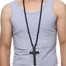 long necklace men images Large wood catholic jesus cross with wooden bead carved rosary jpg