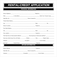 rental application template u2013 12 free word pdf documents