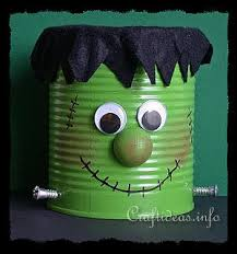Recycled Halloween Crafts - halloween craft for kids recycling craft frankenstein can