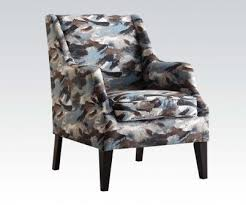 Patterned Accent Chair Zarate Blue Fabric Accent Chair