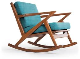 Wood Rocking Chairs For Nursery Creative Idea Brown Modern Wood Rocking Chair With Blue Seat
