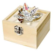 Crystal Keepsake Box Italian Crystal Waterlily Lotus With Amber Highlights And Wooden
