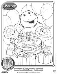 happy birthday barney coloring sheet fun printables
