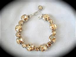bridal bracelet gold images Golden champagne cushion cut bridal bracelet the crystal rose jpg