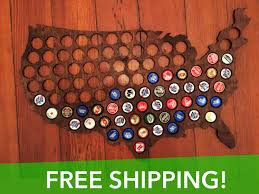 Beer Map Usa by Beer Cap Map Of Usa Honey Brown Wood Bottle Cap Map Craft