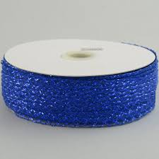 royal blue ribbon 1 5 deco flex mesh ribbon metallic royal blue 30 yards