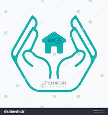 House Flat Design Hand Holding Houseflat Logo Designsafety Care Stock Vector
