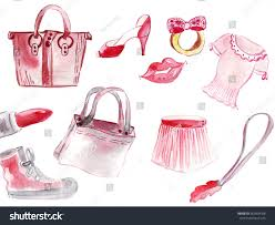 illustration female sketching supplies accessories bag stock
