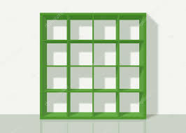 Background Bookshelf Green Empty Square Bookshelf On White Wall Background U2014 Stock